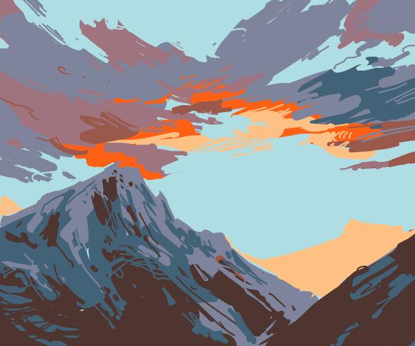 Sunrise near mountains