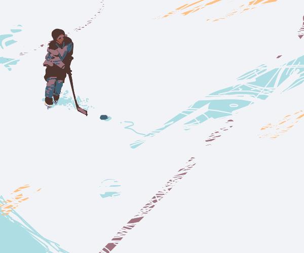 Guy plays hockey alone