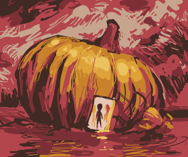 aliens traveling by giant pumpkin