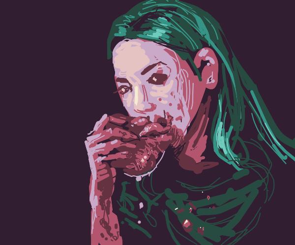 green-haired girl eating a bleeding heart