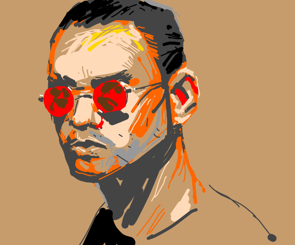 man with red-tinted glasses