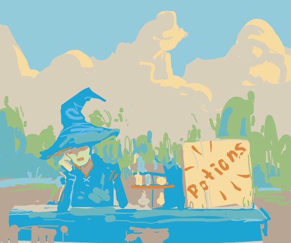 Witch selling potions