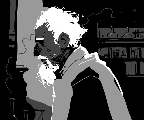 Old timey black and white haired scientist