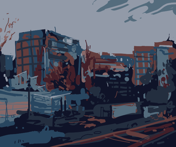 run down city