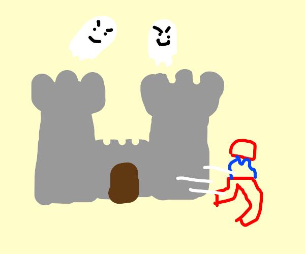 Mario flees the haunted castle