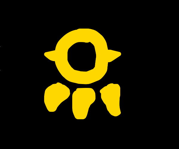 Upside down yellow bear paw symbol
