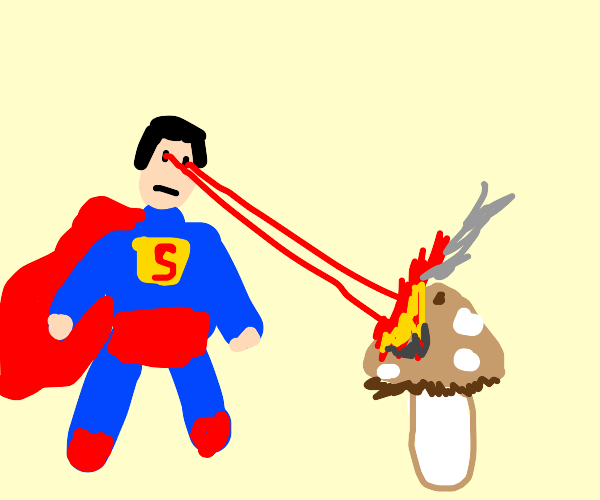 Superman Destroys Mushroom With Laser Eyes