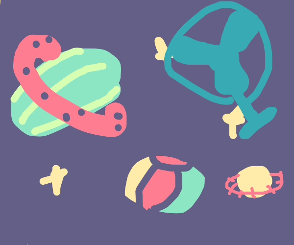 Planets as watermelon,fan,beachball,+baseball
