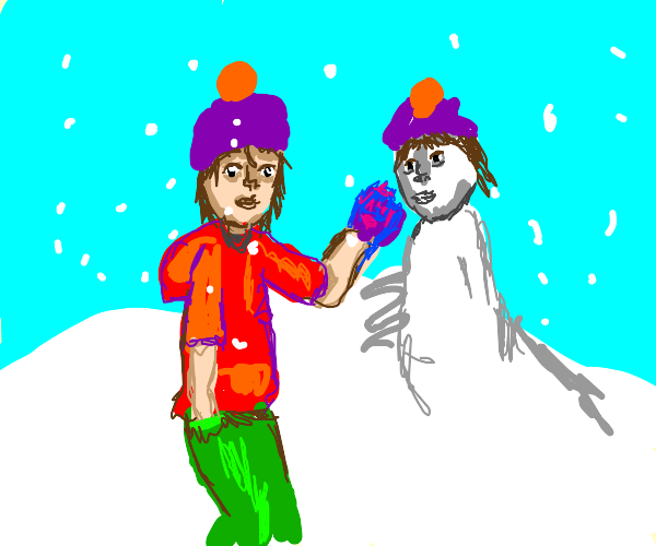 Man builds snowman version of self