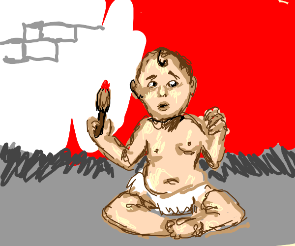 Baby paints the walls red
