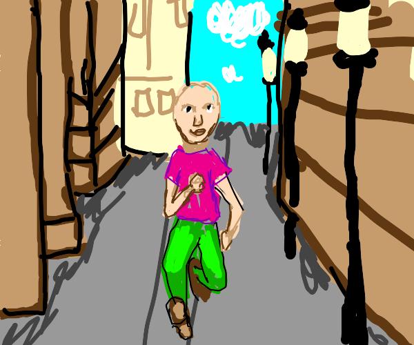 bald kid walks down the street