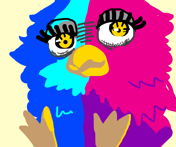 Blue and pink furby