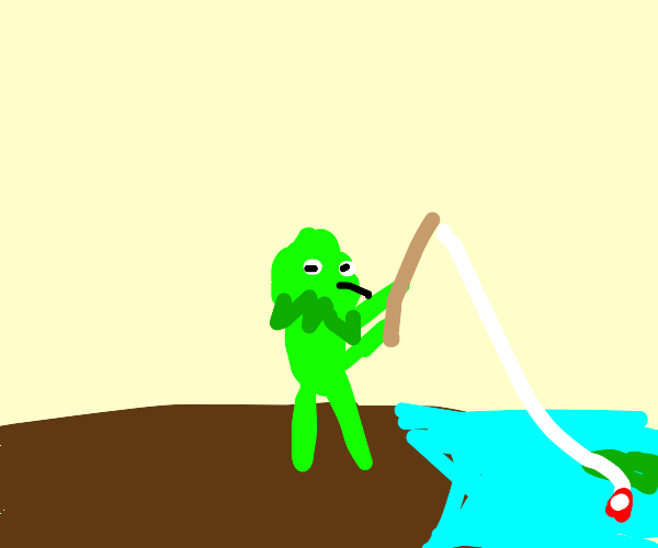 Kermit fishing in a pond