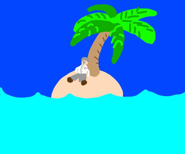 brainy scientist on tiny island w/ lone tree