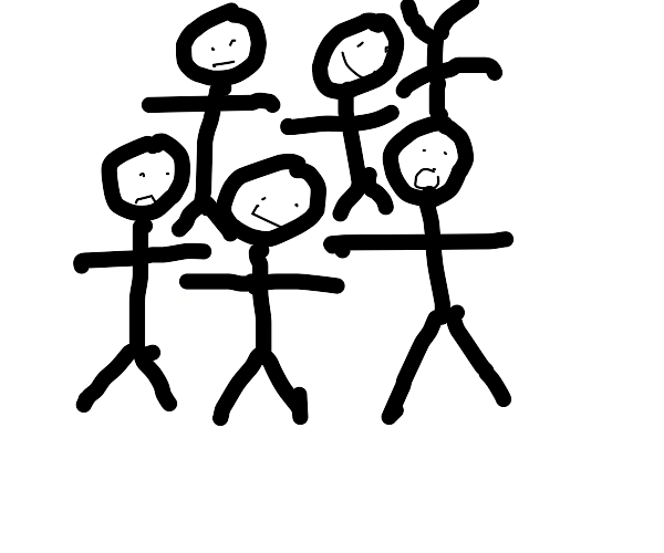 Group of stick people, one on his head