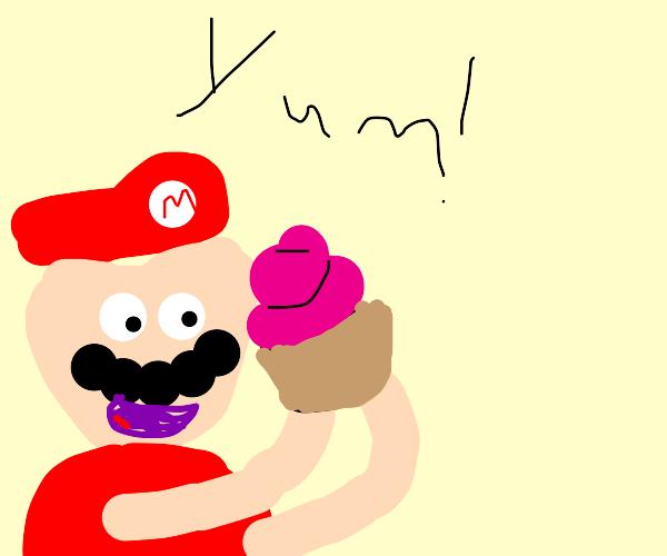 mario eats a cupcake