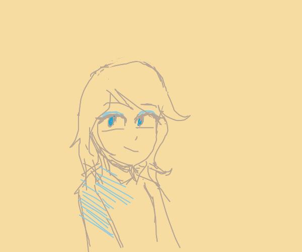 Pretty woman with blue eyeshadow