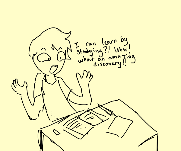 Boy amazed that he can learn from studying