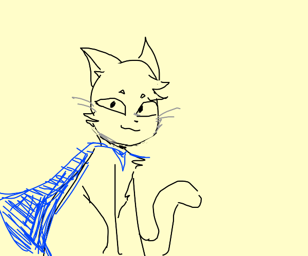 cat with a blue cape