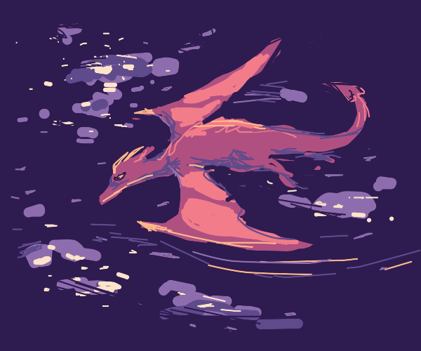 dragon flying in space