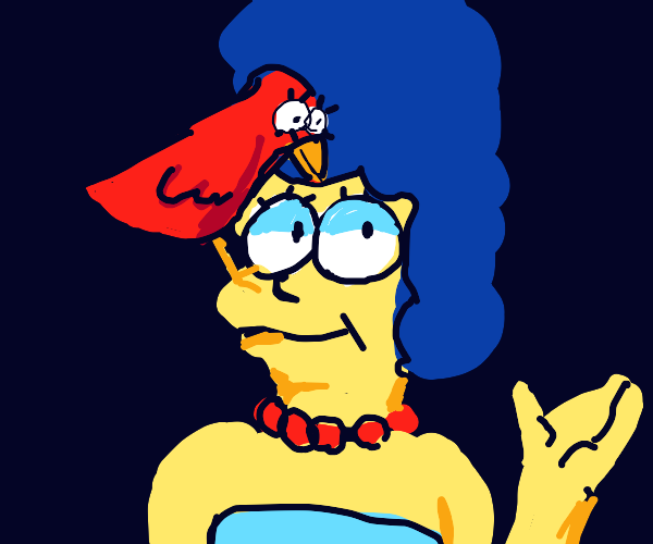 Red bird pecks Marge Simpsons forehead