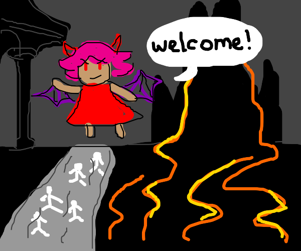 Devil girl welcomes people to the underworld