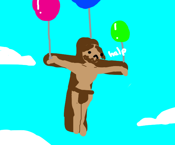Jesus traveling by balloons like in Up