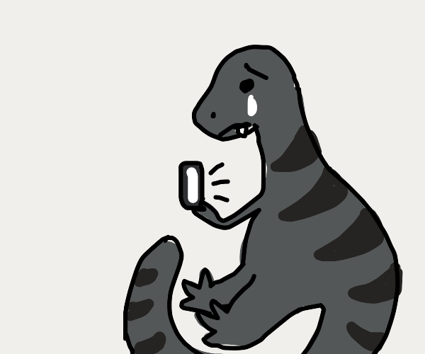 Sad striped t-rex on the phone