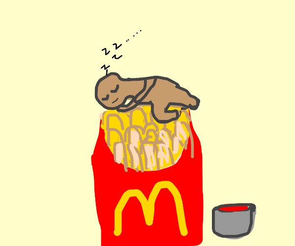 Man asleep on carton of fries.
