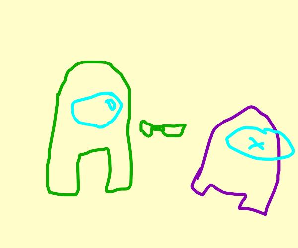 Green guy stabs purple guy