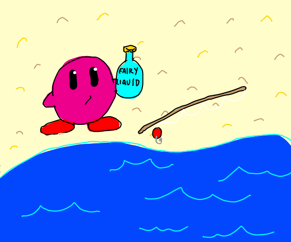 Kirby fished fairy liquid bottle in ocean