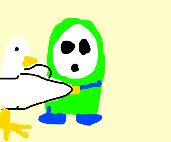 chicken hugging a green shy guy