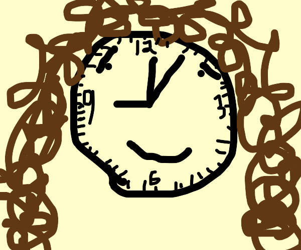 Clock with curly hair