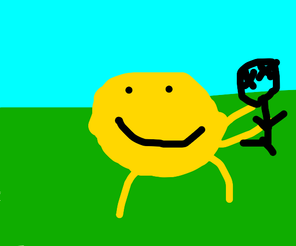 Smiley man carrying a dead body