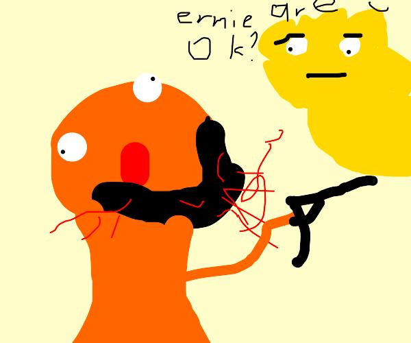 Ernie from Sesame Street has a gun