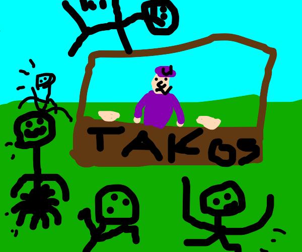 waluigi running a taco stand