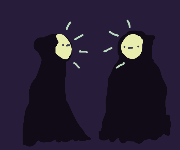 Two glowing faced figures with black outfits