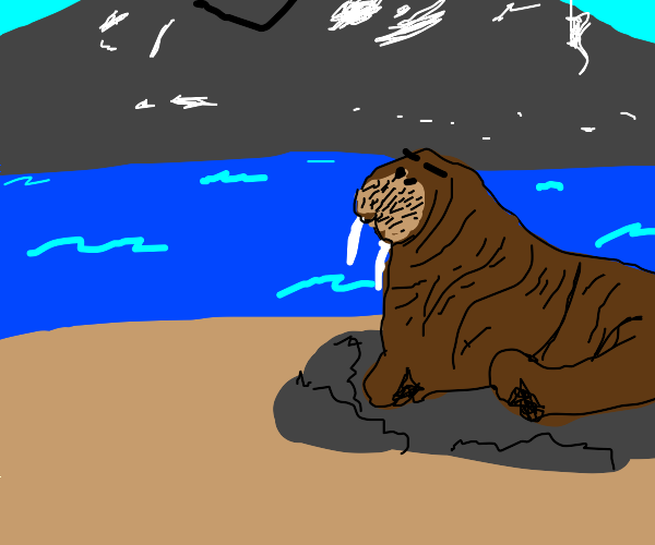 a walrus sitting on the beach next to the sea