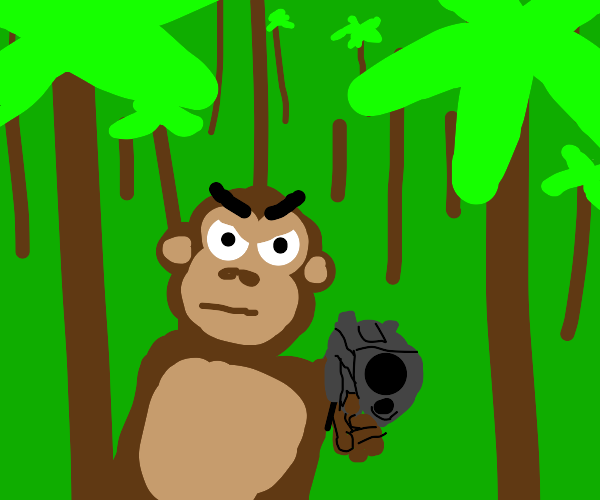 angry monke with gun