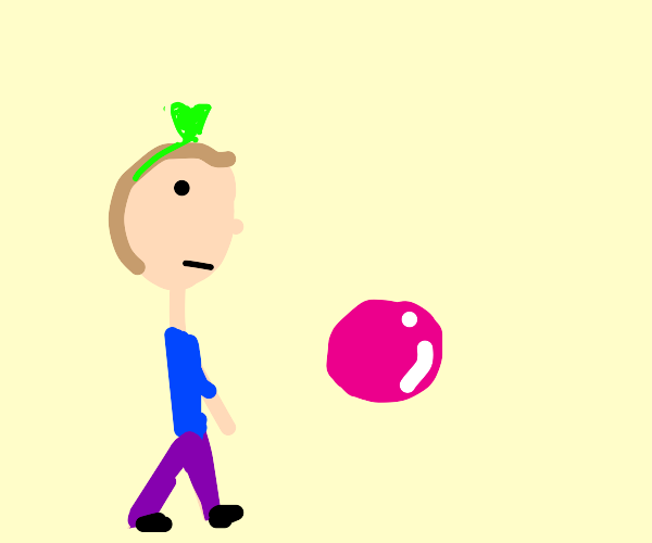guy with green heart headband looking at pink
