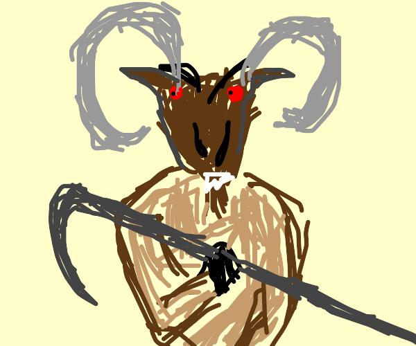 Goat man with a scythe ax