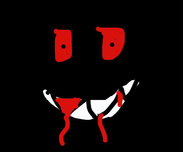 creepy face in the dark