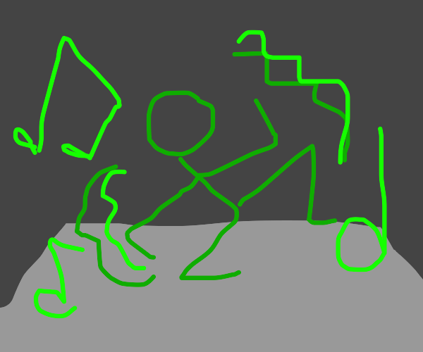 Green man breakdance