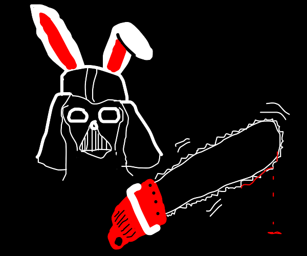 Darth Vader rabbit with chainsaw