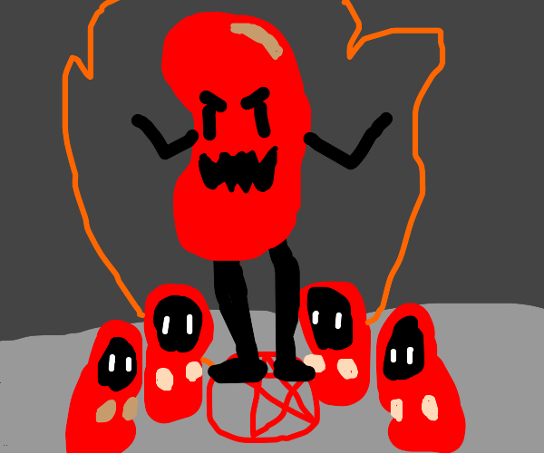 Cultists summon giant kidney bean man