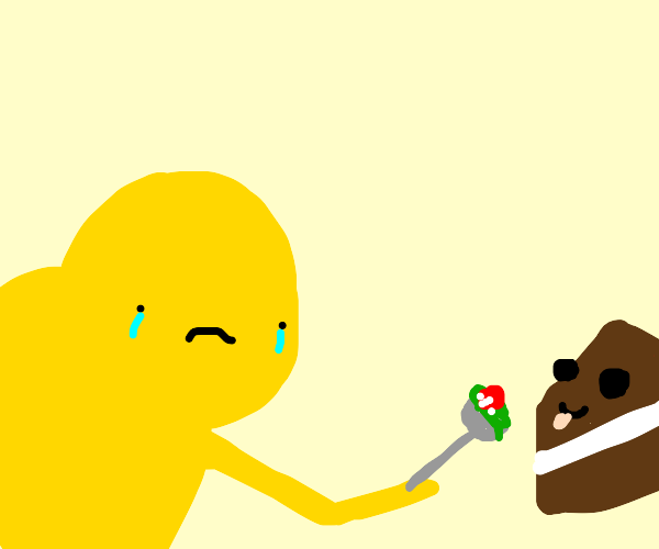 Sad man feeding cake