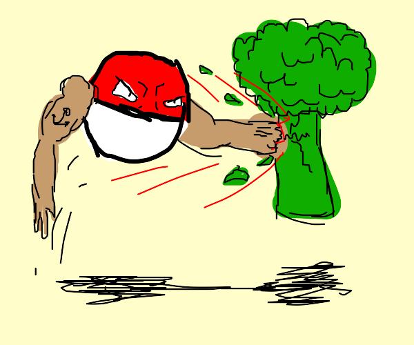 Pokeball destroys broccoli