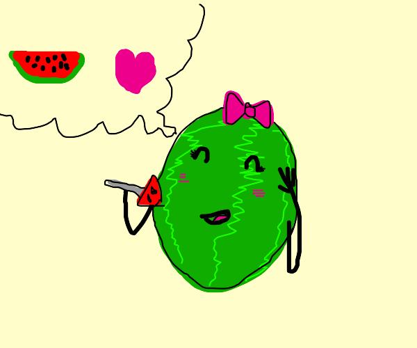 watermelon girl loves watermelon