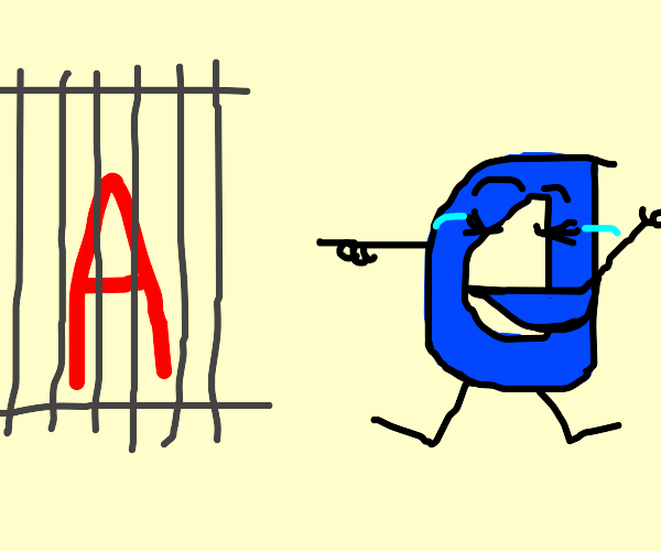 the letter 'a' in jail taunted by drawception