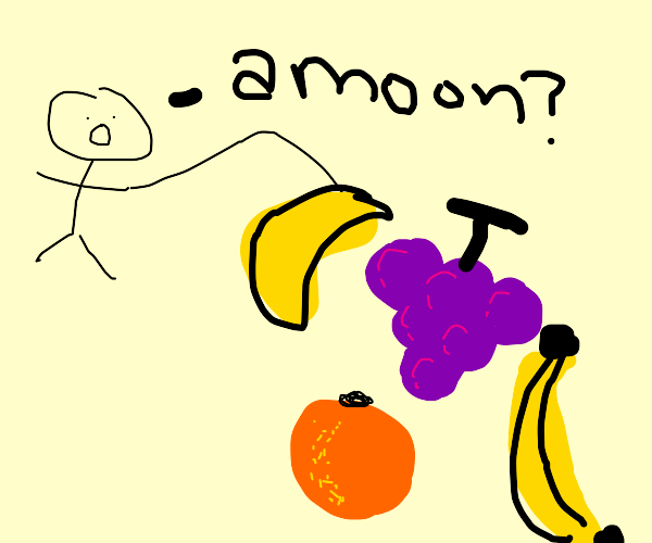 man fished out the moon from a fruit pile